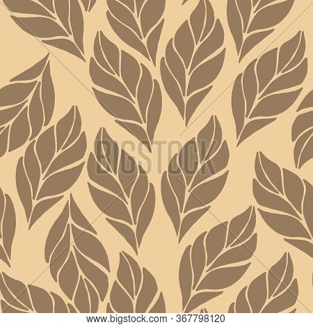 Seamless Abstract Floral Leaf Pattern. Stylish Repeating Texture. Repeating Texture With Light Brown