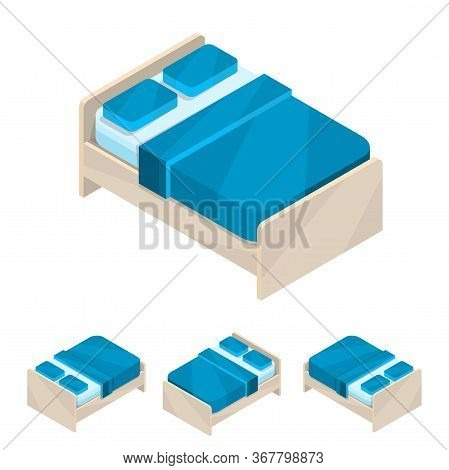 Double Bed. Large New Isometric Blue Furniture With Bedding And Pillows. Wooden Frame.