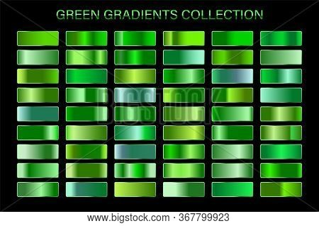 Green Glossy Gradient, Metal Foil Texture. Color Swatch Set. Collection Of High Quality Vector Gradi