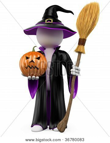 3D Halloween White People. Witch With A Pumpkin And A Flying Broom