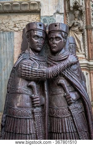 The Portrait Of The Four Tetrarchs Sculpture Of Four Roman Emperors On The Corner Of The Facade Of S