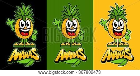 Cute Kawaii Pineapple Fruit. Funny Vector Illustration Of Cartoon Ananas. Friendly Ananas