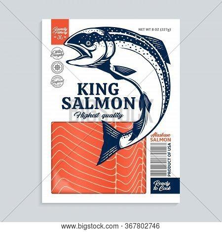Vector King Salmon Packaging Illustration
