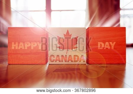 Holiday Canada Day. Maple Leaf And National Flag Of Canada.