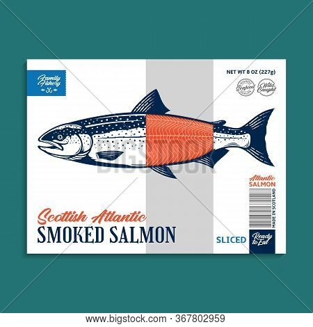 Vector Smocked Salmon Package Design