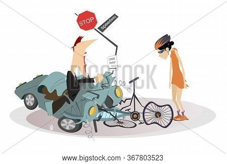 Road Accident, Driver, Cyclist And Broken Bike Illustration. Angry Driver Man Swings His Fists And C