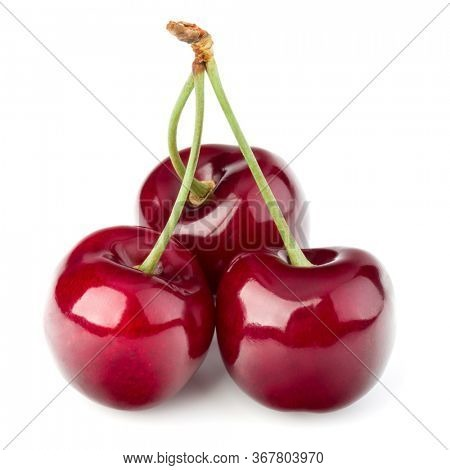 Three cherries isolated on white background cutout