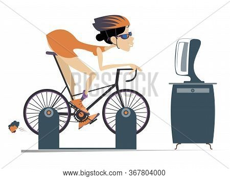 Cyclist Woman Trains At Home On The Exercise Bike Illustration. Cyclist Young Woman Rides On Exercis