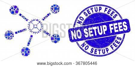 Geometric Gear Links Mosaic Icon And No Setup Fees Stamp. Blue Vector Round Scratched Seal Stamp Wit