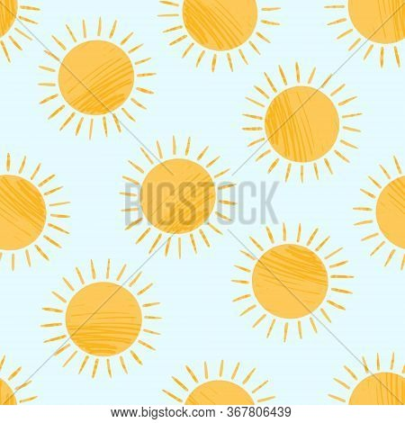 Seamless Pattern With Cute Textured Cartoon Yellow Shiny Suns On Blue Sky. Funny Vector Sun Texture