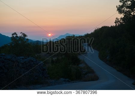 Scenic View Of Beautiful Sunset Above Biokovo Mountain Nature Park, Croatia