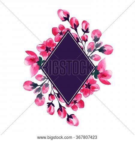 Sakura Flowers, Cherry Blossom Wedding Watercolor Frame Of Pink Blossom Petals And Buds, Floral Deco