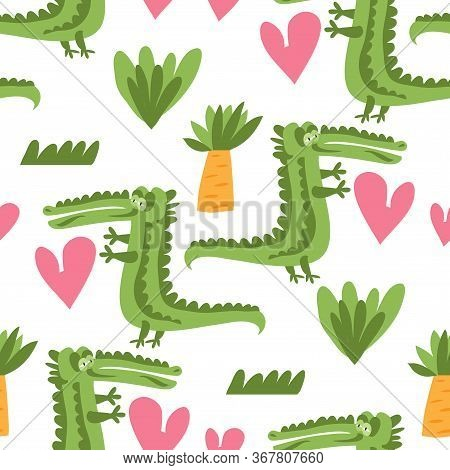 Seamless Childish Pattern With Cute Alligators. Use For Textile, Fabric, Wallpaper,  Kids Apparel, P