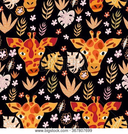 Cute Seamless Pattern With Giraffe In Cartoon Style. Floral Savanna, Jungle  Background , Kids Illus