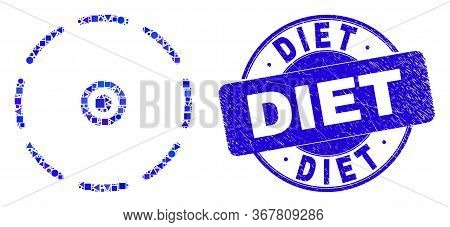 Geometric Round Perimeter Mosaic Pictogram And Diet Stamp. Blue Vector Round Scratched Stamp With Di