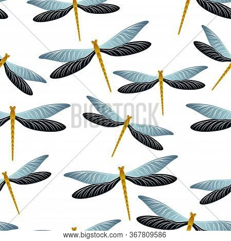 Dragonfly Trendy Seamless Pattern. Summer Clothes Textile Print With Flying Adder Insects. Flying Wa
