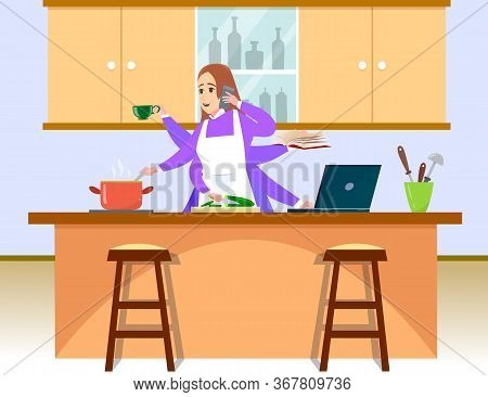 Woman Freelancer Does Several Things At Once Time. She Manages To Cook, Drink Coffee, Talk On The Ph