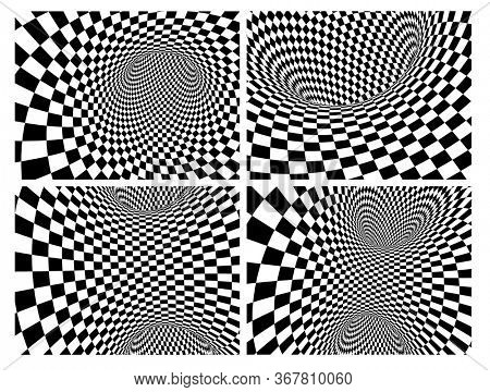 Abstract illusion. Collection of geometric backgrounds with checkered texture of black and white colors. 3d render