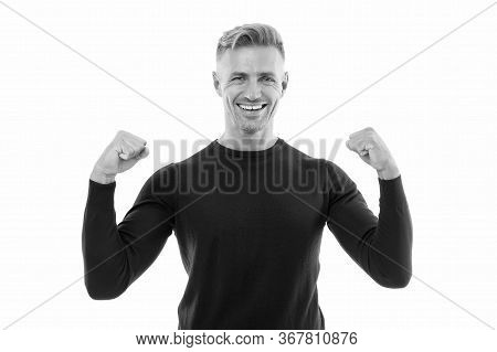 Male Health. Confident And Powerful. Confident Man Isolated On White. Happy Smiling Guy Demonstrate