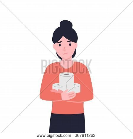 Sad Woman Holds Toilet Paper. Unhappy Girl Suffers From Diarrhea, Constipation And Stomach Pain. Fla