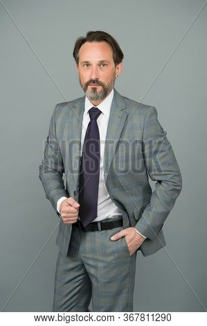 Chic Classic. Professional Businessman Grey Background. Fashion Look Of Mature Man. Formal Fashion S