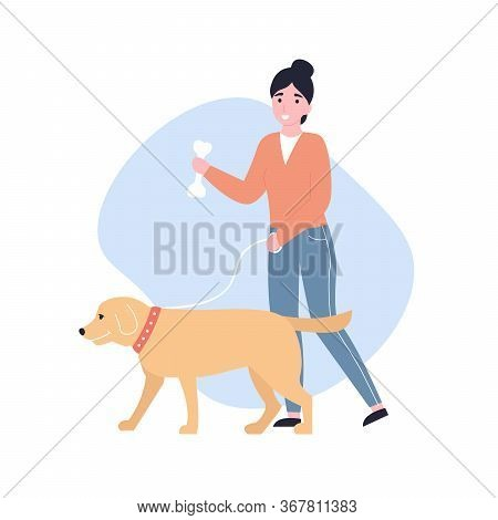 Happy Young Girl Walking With A Dog. Flat Vector Modern Cartoon Illustration.