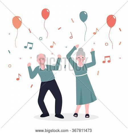 Happy Old Couple Grandparents People Dance To Music And Rejoice. Party Concept. Flat Vector Cartoon