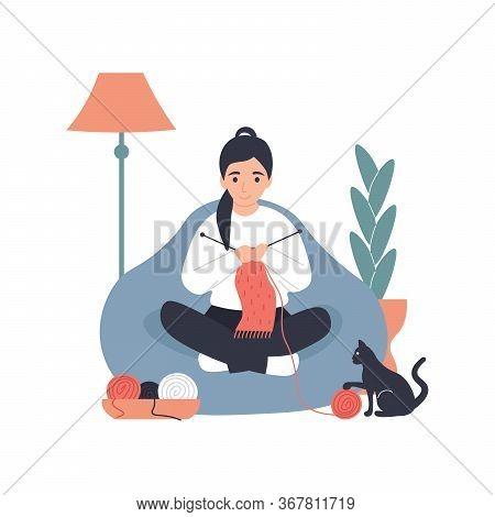 Hobby Concept. Girl Use Knitting Needles Knits A Scarf At Home. Flat Vector Modern Cartoon Illustrat