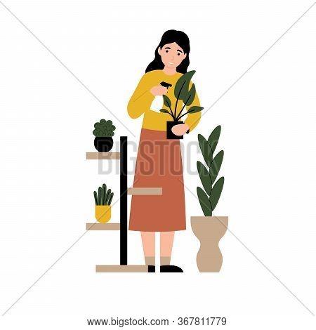 Girl Spraying Water Home Flowers. Woman Caring For Houseplants. Flat Vector Cartoon Modern Illustrat