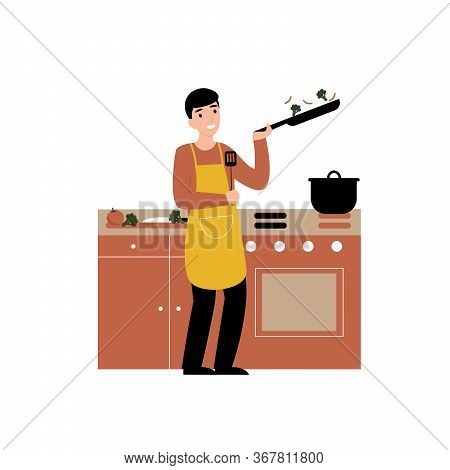 Hobby Concept, Guy Cooking In The Kitchen At Home. Flat Vector Cartoon Modern Illustration.