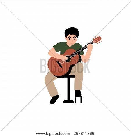Guy Plays The Classical Guitar. Flat Vector Cartoon Modern Illustration.