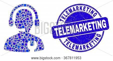 Geometric Call Center Serviceman Mosaic Pictogram And Telemarketing Seal. Blue Vector Rounded Grunge
