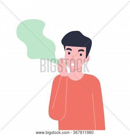 Man Has Bad Smell In His Mouth. Halitosis Or Fetor Oris Problem. Flat Vector Cartoon Modern Illustra