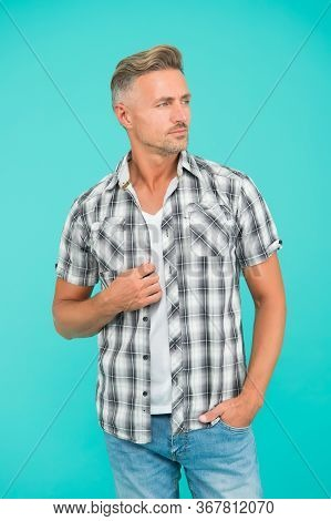 Mens Style Is A Lot More Casual. Handsome Man In Casual Style Blue Background. Casual Fashion Trends