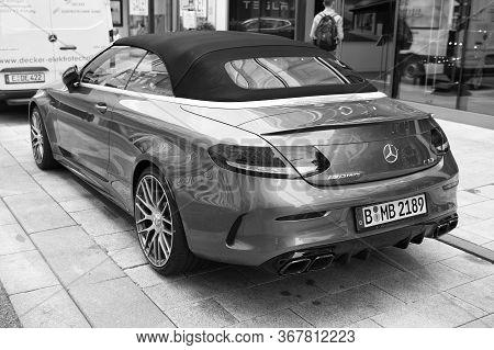 Hamburg, Germany-july 27, 2019: Supercar Mercedes Benz Amg C63 V6 Biturbo Black Color Parked At The