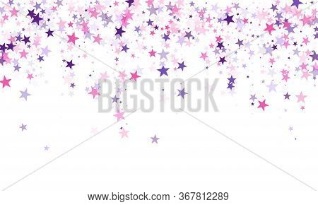 Flying Stars Confetti Holiday Vector In Pink Violet Purple On White. Fairytale Magic Card Backdrop.