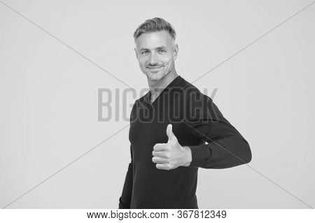 Lets Go Shopping. Happy Man Give Thumbs Up. Handsome Guy Smile With Thumbs Up Gesture. Gesturing Thu