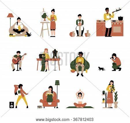 Set People Enjoy Their Favorite Hobbies. Flat Vector Cartoon Modern Illustration. Knitting, Drawing,