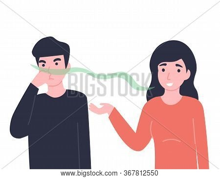 Woman Has Bad Smell In Her Mouth, Man Close His Nose. Halitosis Or Fetor Oris Problem. Flat Vector C