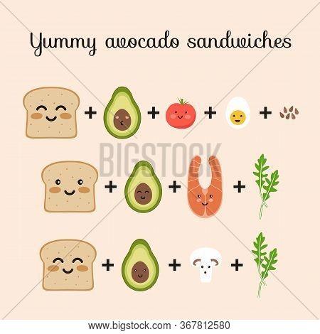 Set Of Ingredients For Yummy Avocado Sandwiches Toasts. Bread, Avocado, Tomato, Egg, Champignon, Aru