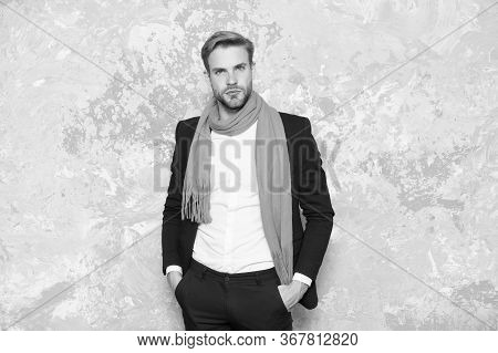 Stylish And Confident. Confident Businessman Abstract Background. Handsome Man Keep Hands In Pockets