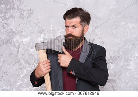 Its Sharp. Unshaven Hipster Touch Axe Blade. Unshaven Look Of Bearded Man. Brutal Lumberjack With Un