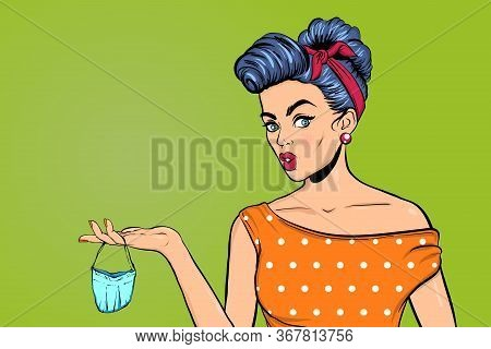 Pop Art Woman Has Taken Off Her Medical Mask And Is Holding It In Her Hand. Wow Face, Surprised Emot