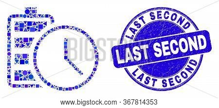 Geometric Battery Charge Time Mosaic Icon And Last Second Seal Stamp. Blue Vector Rounded Scratched