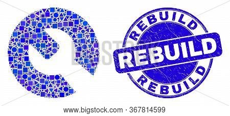Geometric Repair Wrench Mosaic Icon And Rebuild Seal Stamp. Blue Vector Rounded Distress Seal Stamp