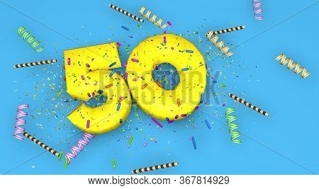 Number 50 For Birthday, Anniversary Or Promotion, In Thick Yellow Letters On A Blue Background Decor