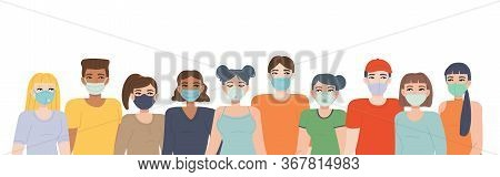 Crowd In Face Mask. Set Of Different Face Mask Types. Pandemic Covid-19, Quarantine, Health, Respira
