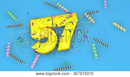 Number 57 For Birthday, Anniversary Or Promotion, In Thick Yellow Letters On A Blue Background Decor