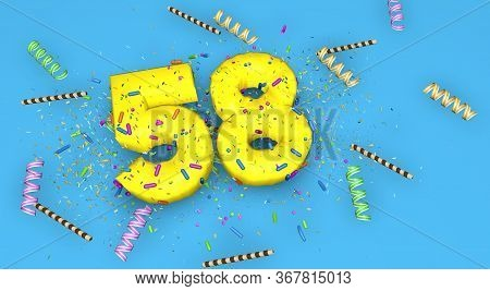 Number 58 For Birthday, Anniversary Or Promotion, In Thick Yellow Letters On A Blue Background Decor