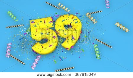 Number 59 For Birthday, Anniversary Or Promotion, In Thick Yellow Letters On A Blue Background Decor